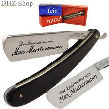 Rasiermesser mit WUNSCH GRAVUR + Paste mittel und fein aus Solingen