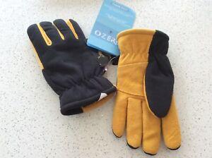 OZERO Deerskin Suede leather gloves-polar fleece unisex Black/Yellow Size M New+