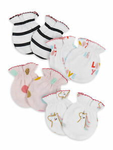 Gerber Baby Girls 4 Pack Organic Cotton Mittens Size 0-3 Months NEW Adorable