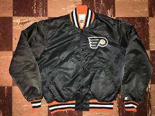 PHILADELPHIA FLYERS Vtg 90s 80s Sateen Black STARTER jacket jersey coat M/Large