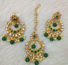 Indian Bollywood Polki Earrings with Maang Tikka Jhumka Bridal Jewelry US seller