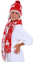 Winter Beanie Scarf Set Kids Boys Girls Knit Snowflake/Deer Hat Scarf