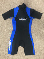 Osprey Teenagers Shorty Wetsuit, Size Age 14-15, Black And Blue, VGC, Free P&P
