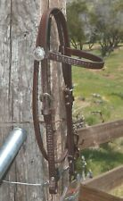 "Circle Y 3/4"" Straight Browband Headstall Snake Tooling  - Walnut"
