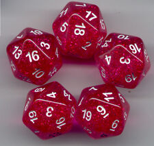RPG Dice Set of 5 D20 - Glitter Hot Pink