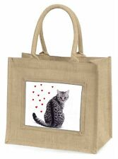 Silver Tabby Cat with Red Hearts Large Natural Jute Shopping Bag Chri, AC-140BLN