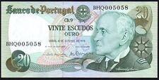 1978 PORTUGAL 20 ESCUDOS billet * quartier 005058 * EF + * P-176b *