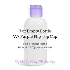 20~3oz WHITE PLASTIC BOTTLES +PURPLE CAPS~EMPTY~MADE USA~diy craft travel lotion