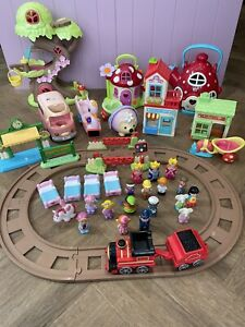 Happyland Toys Bundle: Treehouse Fairies Train Set Village Vet Tea Shop Figures