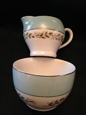 Barratts Delphatic Tableware Sugar Bowl & Creamer, Blue Rim & Roses, Silver Trim
