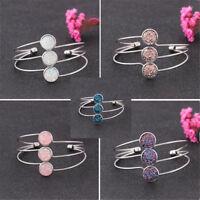 Elegant Women Natural Stone Crystal Quartz Druzy Bracelet Charm Cuff Bangle Gift