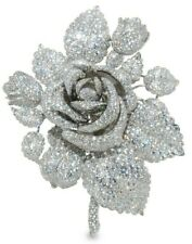 925 Sterling Silver Brooch Beautiful White Round Handmade Rose Flower-Magnifique