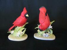 "2 Lefton Cardinal Bird n Lilies 4"" Porcelain Figurines Kw464 Japan Head Down, Up"