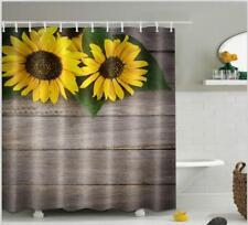 "US STOCK Retro Rustic Board Sunflowers Shower Curtain Liner Bathroom Decor 72"""