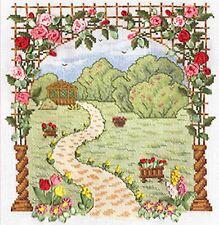 Using puntada cruzada y cinta bordado Kit-favorito de jardín
