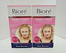 2 BOXES BIORE' DEEP CLEANSING 14 PORE STRIPS COMBO PACK 7 NOSE 7 FACE