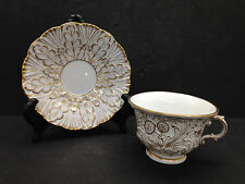 Antique Meissen Blue Crossed Swords Marked Cup & Saucer Heavy Gold Trim Embossed