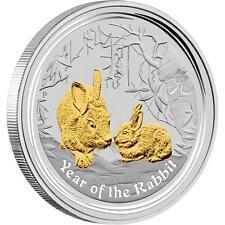 2011 Australia $1 Year of the Rabbit Gilded 1oz .999 Fine Silver Lunar Coin
