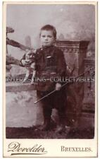Young Boy with Stick & Toy Dog CDV Photograph by Devolder of Bruxelles, Belgium