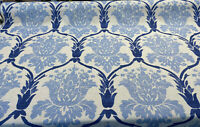 Blue Damask Linen Lyra Teflon Drapery Upholstery Fabric by the yard