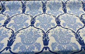 Blue Damask Linen Lyra Teflon Drapery Upholstery Fabric by the yard