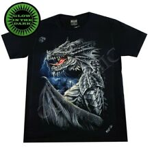 Wild Glow In The Dark T Shirt Gothic Electric Blue Dragon Skulls Chains Metal