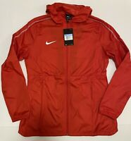 Nike Womens Rain Jacket Windbreaker Full Zip Side Pockets Red Size Medium NWT
