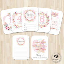 Baby Girl Milestone Cards, Boho Floral Tribal, Photo props, 40 cards, 250gsm