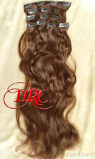 """24"""" MEDIUM BROWN EUROPEAN QUALITY HUMAN HAIR EXTENSION 14 CLIP ON IN WEFT REMI"""