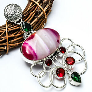 """Outstanding Pink Agate, Chrome Diopside Handmade Jewelry Pendant 3.32"""" LL"""