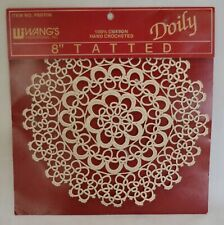 """New listing New Tatted Doily 8"""" Diameter Circle 100% Cotton Ecru Hand Made by Wang's Intl"""
