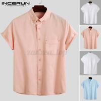 Summer Mens Short Sleeve Shirt Causal Formal Collared T Shirt Beach Tops Tee UK