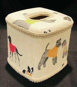 Dogs On Parade Fabric Covered Tissue Box Cover New