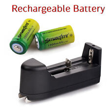 3x 1800mAh 16340 CR123A 3.7V Rechargeable Li-Ion Battery Batteries + Charger USA