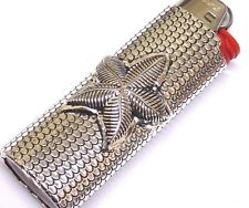 """Star Fish Design on a MetalCase Plated Antique Silver Fits a 3"""" Bic lighter"""