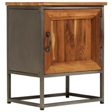 Industrial Bedside Table Rustic Recycled Teak Wood Metal Frame Storage Cabinet