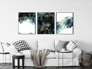 Prints Set Bedroom Prints Posters Set of 3 Prints Art Wall Art Abstract Green A3