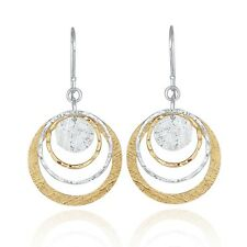 Two Tone Circle & Disc Earring 925 Sterling Silver 14k Gold Filled Dangle Earrin