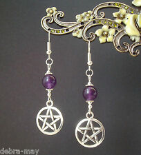 Gift Bag - Wicca Pagan Witch Pentagram and Amethyst Bead Dangly Earrings in