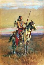 """CHARLES RUSSELL, THE SCOUT, Indian, Paint Horse, Rifle, 20""""x14"""" Canvas Art"""