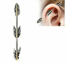 Industrial Barbell 316L Stainless Steel Bar Golden Triple Tier Feathers 1 1/2''