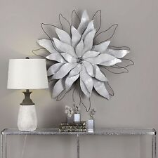 "NEW LARGE 39"" GALVANIZED SHEET METAL & WIRE FLOWER WALL ART MODERN SCULPTURE"