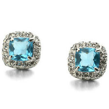 White gold finish sparkly light blue studs earrings quality jewellery UK seller