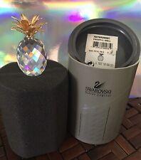 Swarovski Crystal Figurines Retired Pineapple Small Gold Smooth Leaf - W/ Box