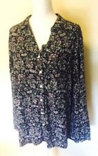Croft & Barrow Womens Size 2X Black Floral Print Long Sleeve Button Down Top