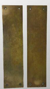 Pair - Antique Victorian Welsh Chapel Brass Door Finger Plates
