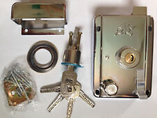 Deadlatch Dead latch deadlock deadbolt door lock silver with 5 keys