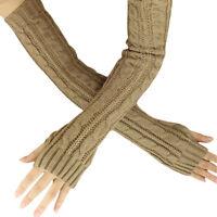 Women Winter Warm Fingerless Knitted Long Gloves Mitten Wrist Arm Hand Warmer