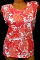Joe fresh pink white floral print sleeveless crew neck women's plus size top XL