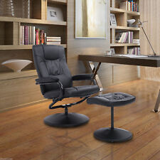 Leather Swivel Recliner Chair Armchair Lounge & Ottoman Set Home Furniture Black